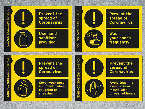 Infection control stickers pack of 4