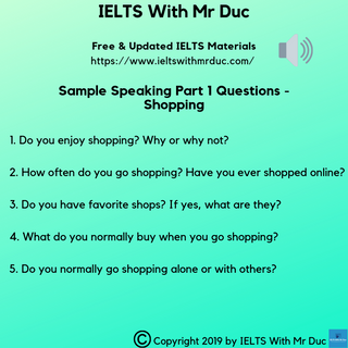 Sample Speaking Part 1 questions on shopping