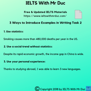 How to introduce examples in Writing Task 2?