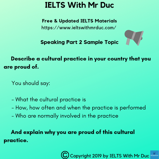 Speaking Part 2 sample topic on culture