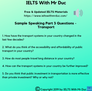 Sample Speaking Part 3 questions on transport