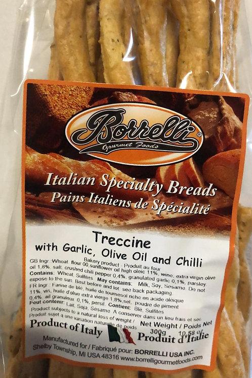Treccine Bread Sticks with Garlic, Olive Oil and Chili