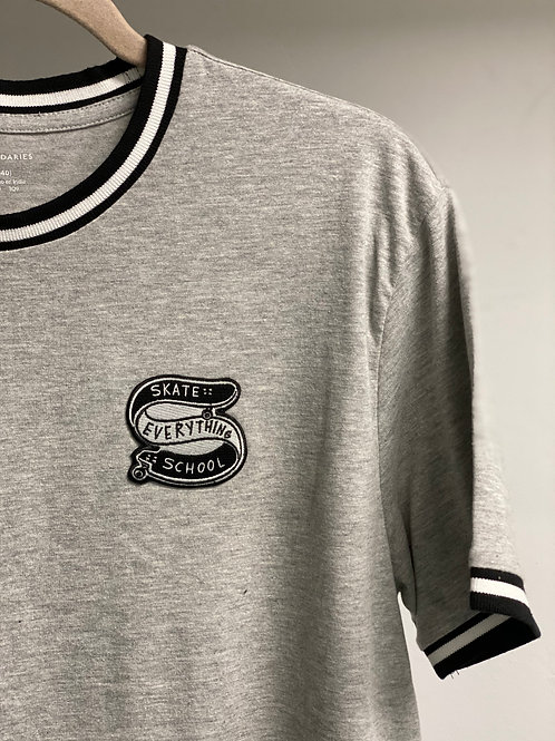S.E.S Nets Gray Varsity Tee With Embroidered Patch