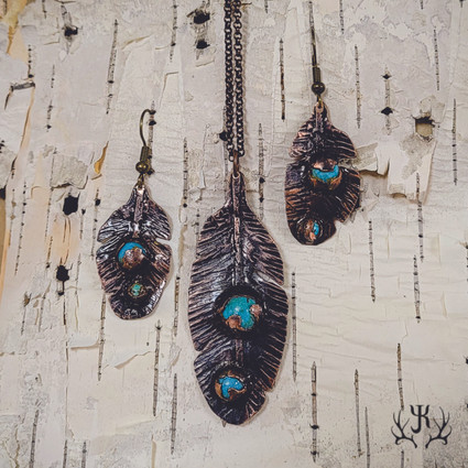 Copper & Turquoise Feathers