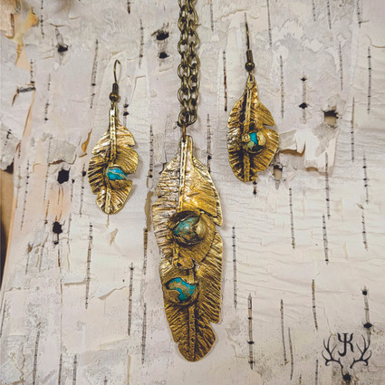 Brass & Turquoise Feathers