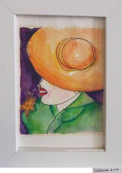 Mini Watercolor Orange Hat