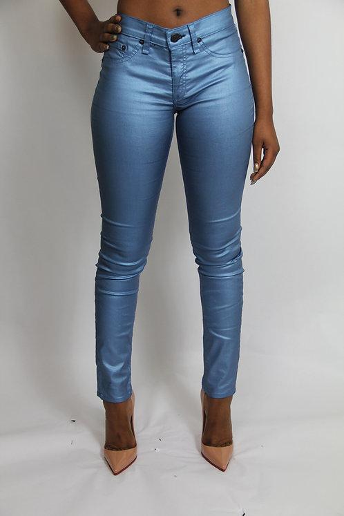 BLUE METALLIC 'RAG & BONE' PANTS