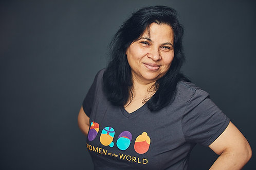 """WoW Women's V-Neck T-Shirt with Logo """"Enabling Refugee Self Reliance"""""""