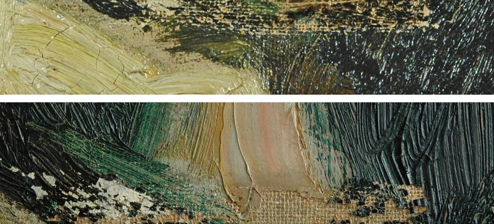 Repair in torn canvas