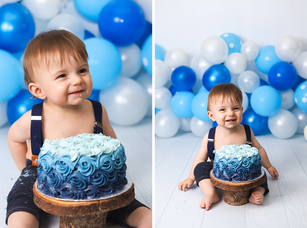 Blue Cake Smash with Balloons