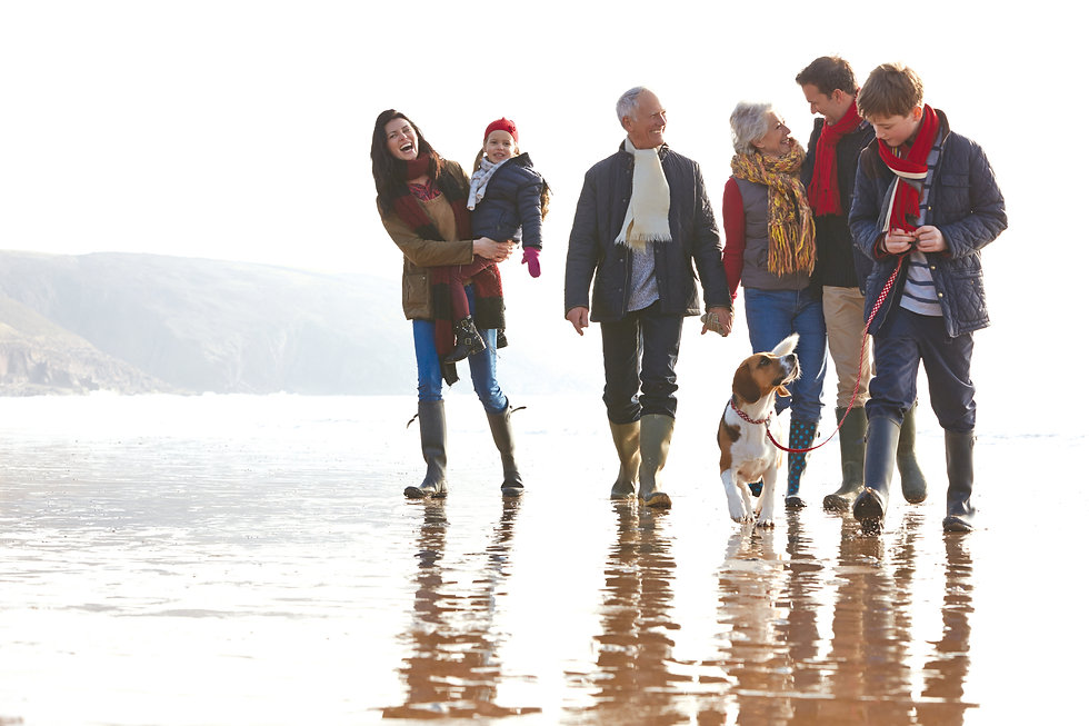 Intergenerational family group walking on a beach