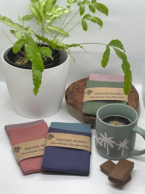 Handmade Cotton Linen Handkerchief 2pk