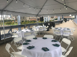 Tables with Linens and Dinnerware