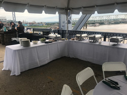 Tables w/ Chafing Dishes and Plates