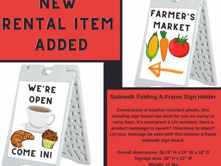 New Rental Item Added: Sidewalk Folding A-Frame Sign Holder