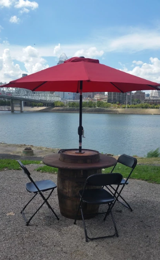 Umbrella Barrel Table