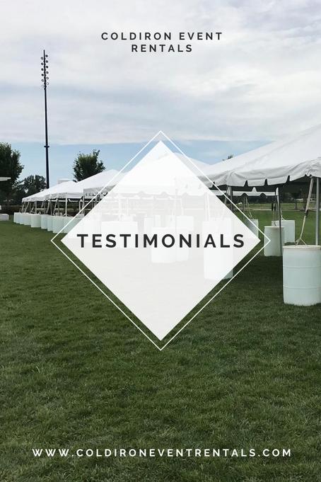 Testimonials - ColdIron Event Rentals