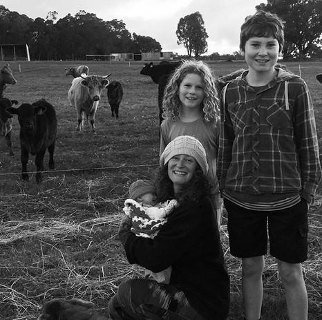 Baby meets the herd