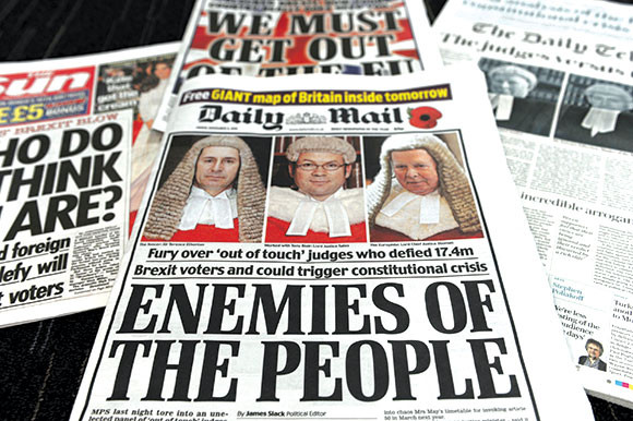 The front cover of several right wing newspapers criticising members of the judiciary