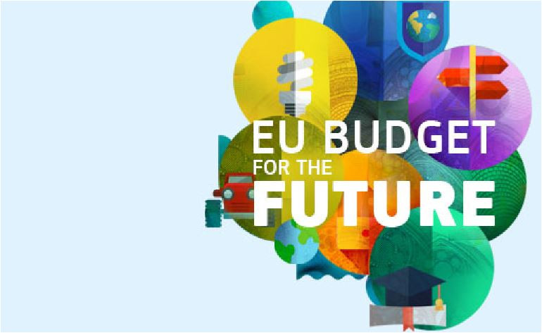 An image representing the EU's budget with coloured bubbles and a car and a lightbulbs and so on