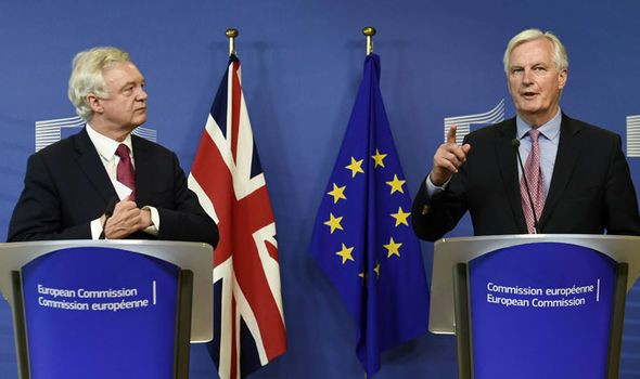 David Davis MP and Michel Barnier speak at a news conference