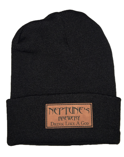 Neptune's Knit Beanie with Leather Patch