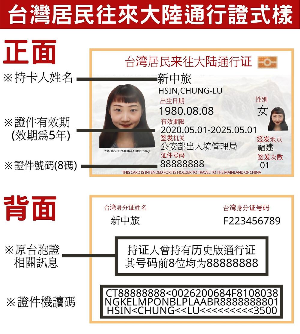 台灣居民往來大陸通行證式樣 只有八碼