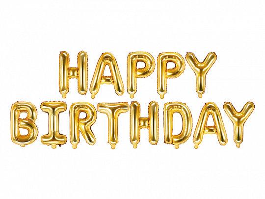 GUIRNALDA GLOBO HAPPY BIRTHDAY ORO