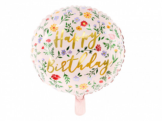 GLOBO FOIL HAPPY BIRTHDAY FLORES