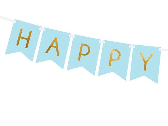 GUIRNALDA HAPPY BIRTHDAY MONOCOLOR AZUL Y ORO