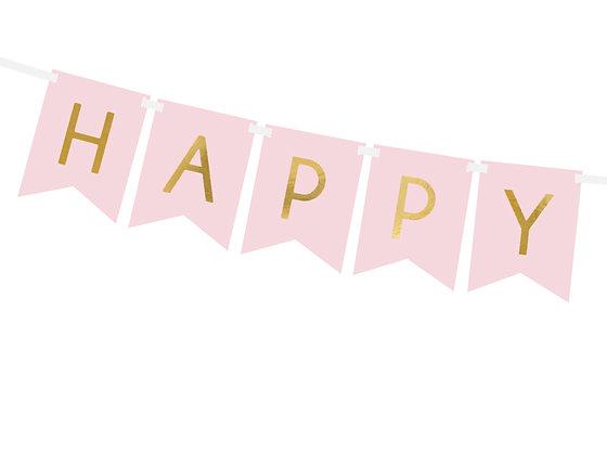 GUIRNALDA HAPPY BIRTHDAY MONOCOLOR ROSA Y ORO