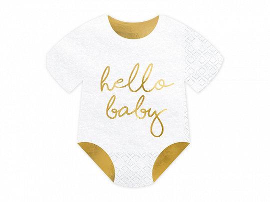 SERVILLETAS HELLO BABY ORO