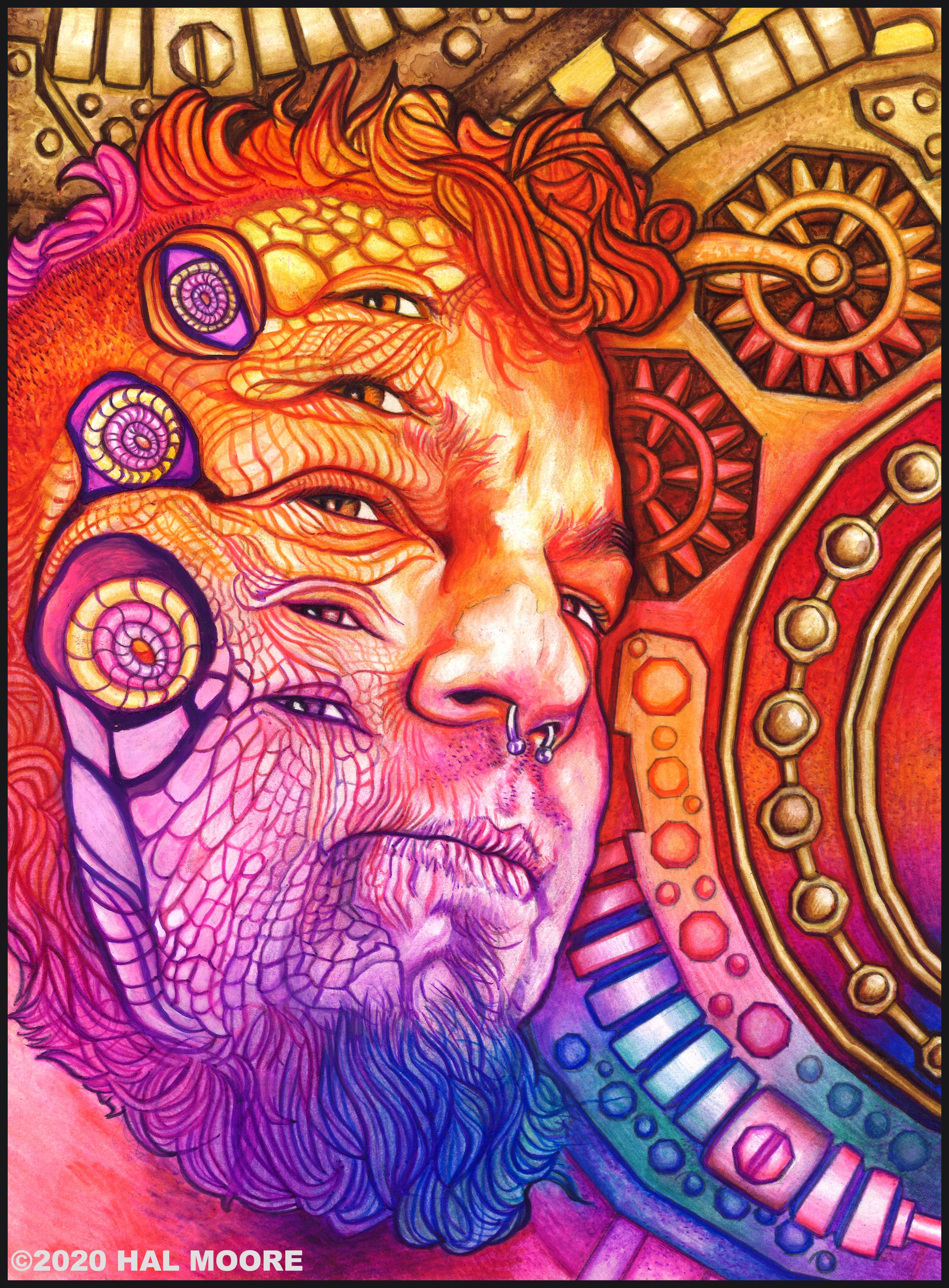 Hal self portrait 5 eyes scan