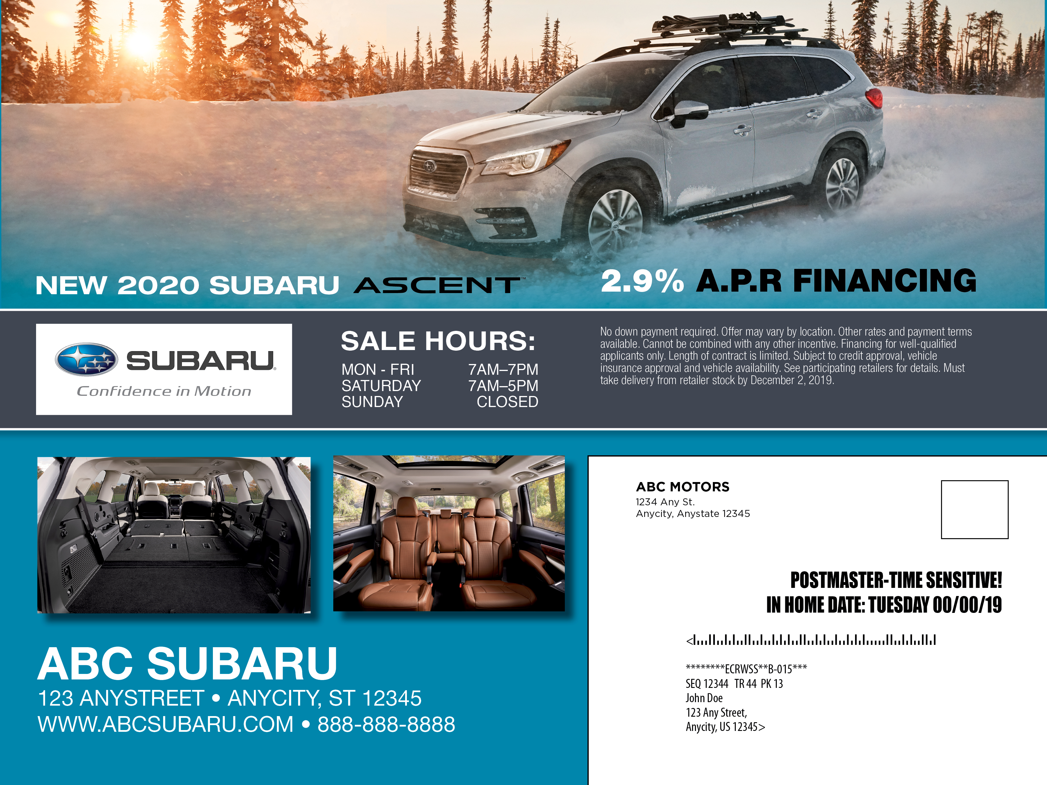 9X12 Subaru Share the love Ascent PQ