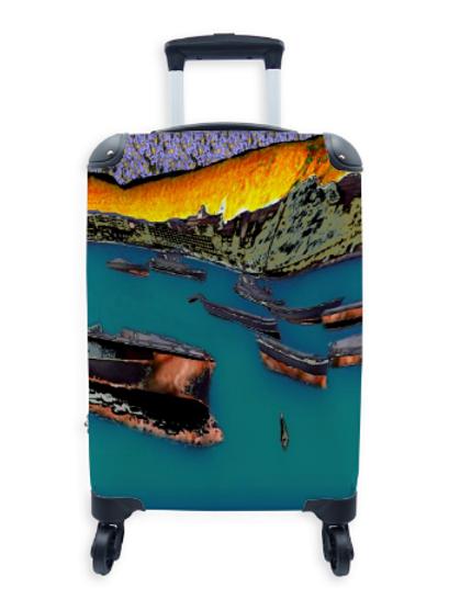 Street Art Suitcase Fishing Boats 033