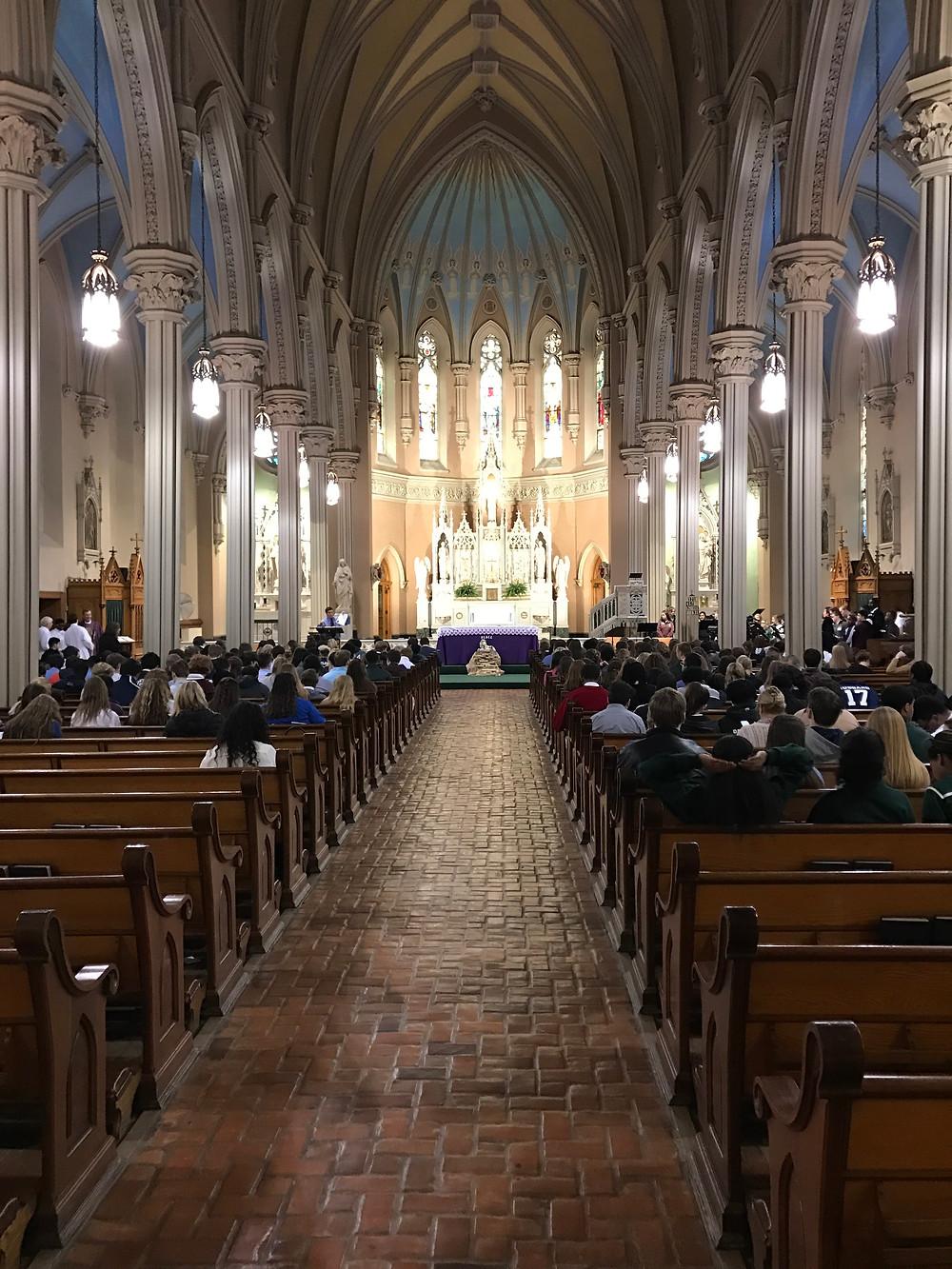 Mass at St. Patrick Church on Bridge Ave.