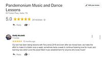 Google review Pandemonium Music and Dance Keller Tx