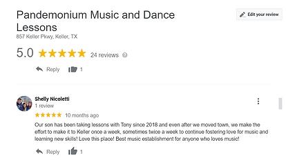 Google review Pandemonium Music and Dance studio