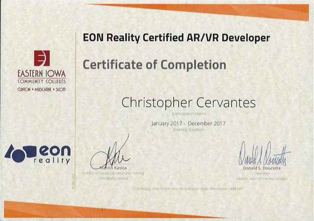 Eon Reality Certificate