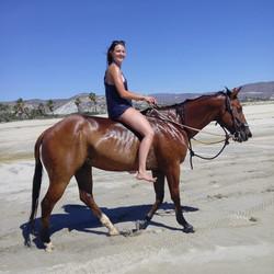 Riding horses bareback