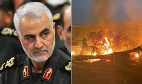 Left: General Qassem Soleimani Right: Site of missile strike that killed Soleimani