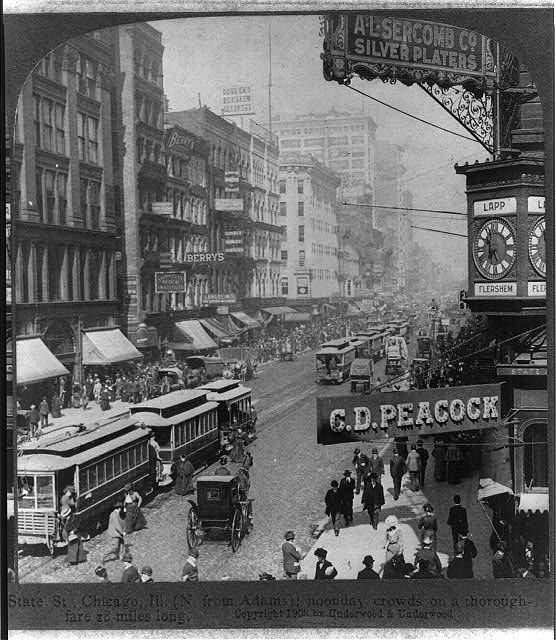 State Street in Chicago, photographed in 1903 by Underwood & Underwood. Library of Congress Prints and Photographs Division