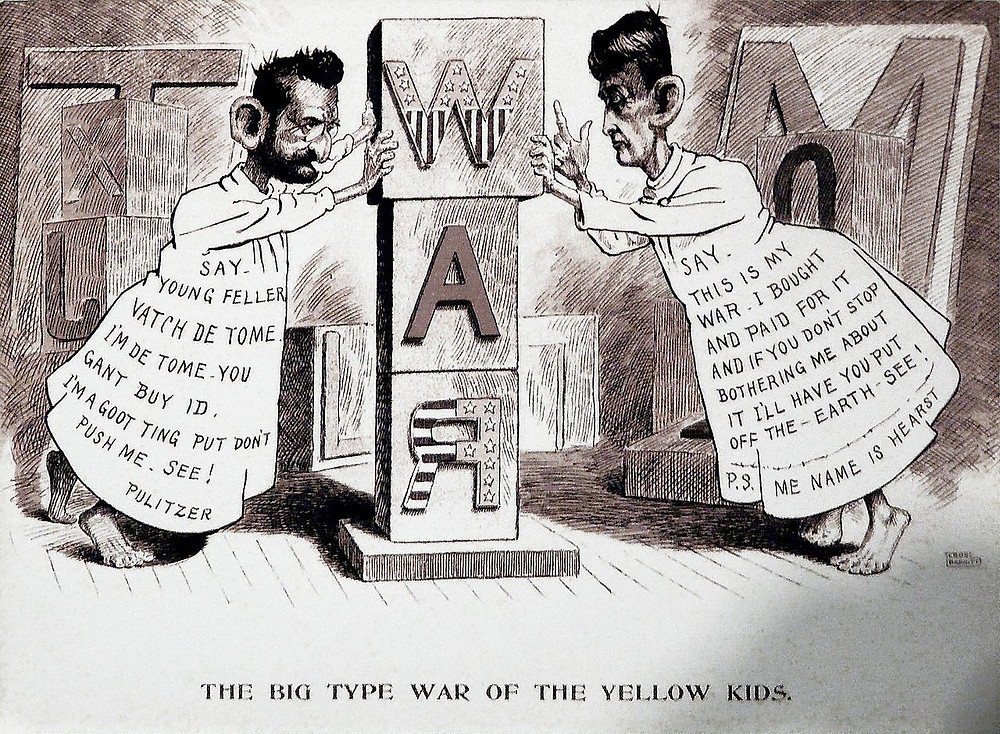 """Joseph Pultizer and William R. Hearst dress as the """"Yellow Kid"""" during their publishing war that spurred on the Spanish American War. (Credit: Independence Maine Museum)"""