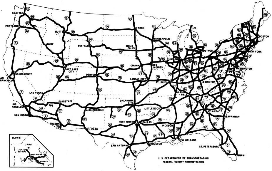 Map of U.S. Interstate system