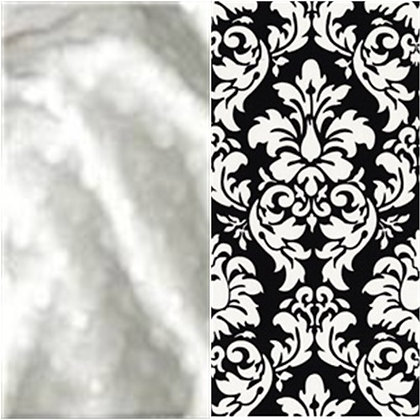 STROLLER BLANKET,  WHITE MINKY W/ BLACK DAMASK