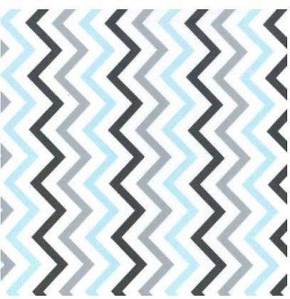 STROLLER BASSINET SHEET, GREY - BLUE CHEVRON