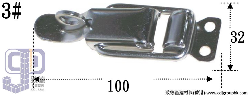中國-白鋼#3箱扣(32x100mm)-TKBX003(WIP)