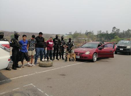 En posesión de más de 50 paquetes de hierba seca supuesta marihuana capturan a 5 personas