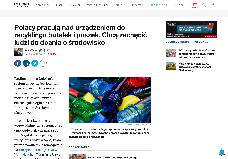 BUSINESS INSIDER 22.05.2019 - Polacy pracują nad urządzeniem do recyklingu butelek i puszek. Chcą za