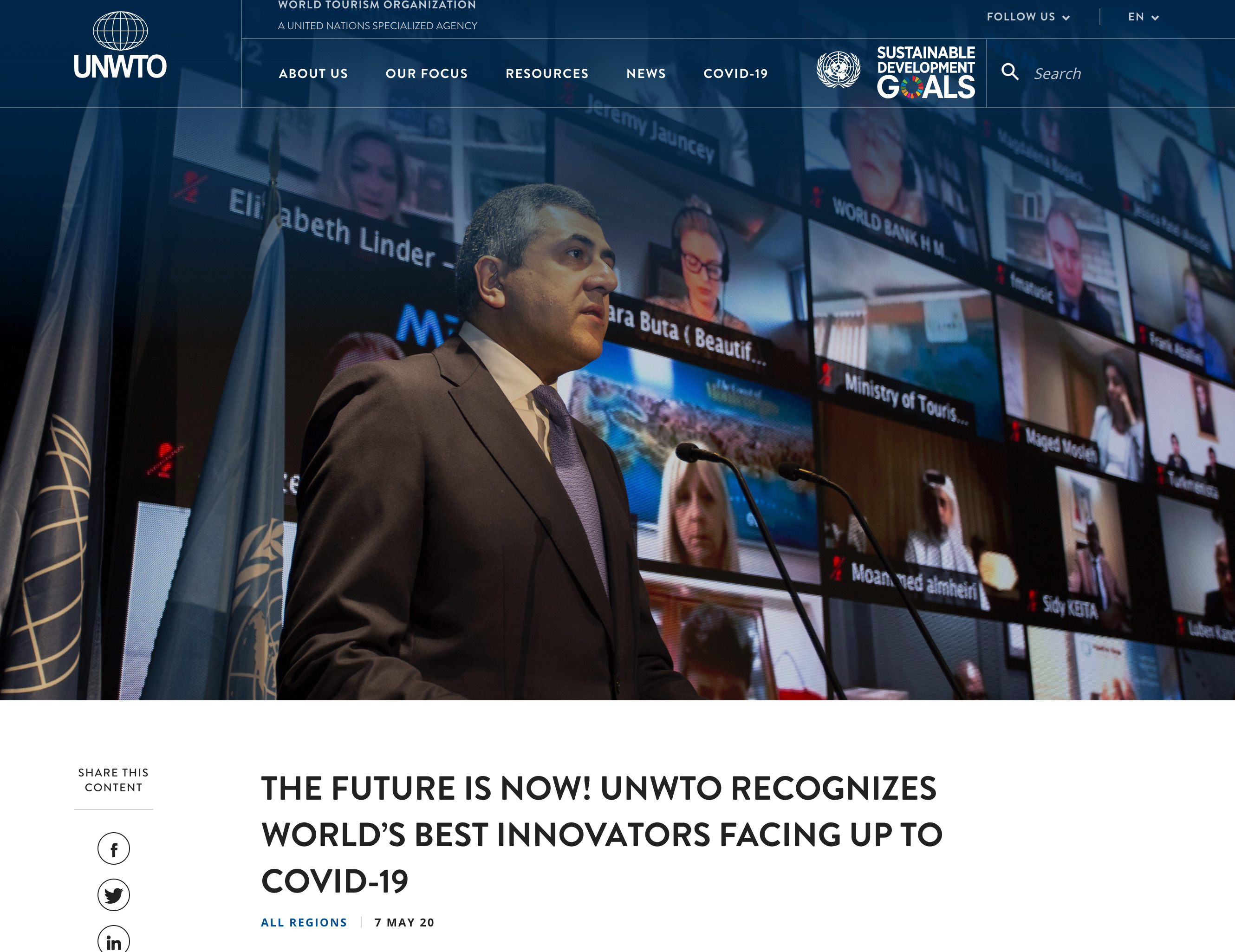 The Future Is Now! UNWTO Recognizes World's Best Innovators Facing Up To COVID-19